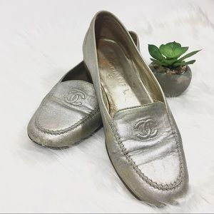 CHANEL Silver Loafer Flats